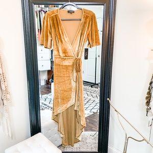 Gold Velvet Shortsleeved Hi-Lo Midi Wrap Dress